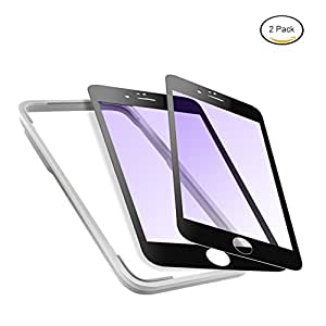 Mimoday for iPhone 6s Plus Screen Protector Tempered Glass Edge to Edge Anti Glare Screen Covers Blue Light Filter with Easy Installation Frame Black (2 Pack)