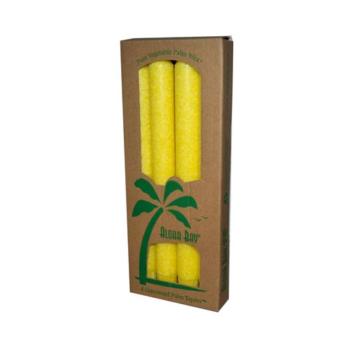 Aloha Bay Palm Tapers Yellow Candle Unscented - 4 Candles - Aloha Yellow Candle
