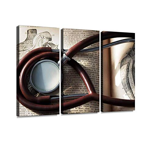 antique stethoscope and heart illustration vintage novel bookss and Wall Artwork Exclusive Photography Vintage Abstract Paintings Print on Canvas Home Decor Wall Art 3 Panels Framed Ready to Hang