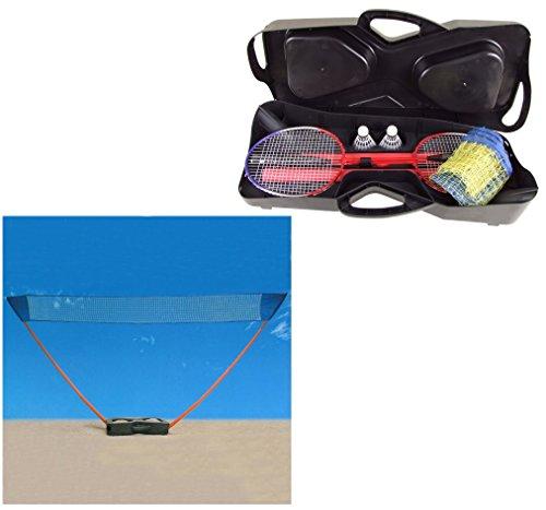 Badminton Set mit Standfuß im kompakten Koffer - Badminton-Netz / Volleyball-Netz