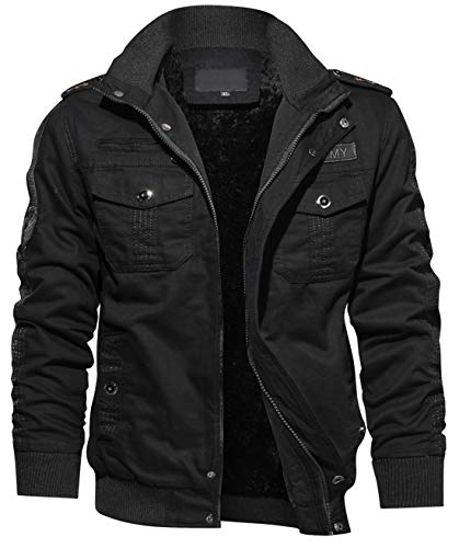 chouyatou Men's Sportswear Full Zip Sherpa Lined Military Outerwear Bomber Jacket (Medium, Black)