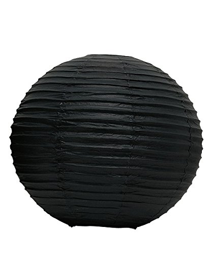 Black Paper Lanterns Wedding Decorations, 12' (3 Pack) - Paper Black Chandelier, Japanese Lantern, Outdoor Lamp, Floating Lanterns, Black Party Supplies