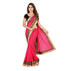 Kuki Women's Georgette Saree With Unstitched Blouse