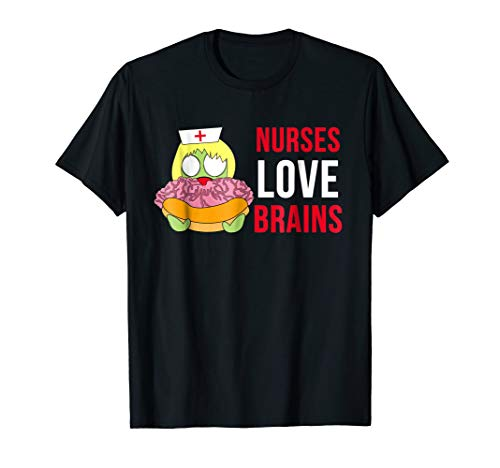 Nurses Love Brains Funny Halloween Costume T-Shirts ()