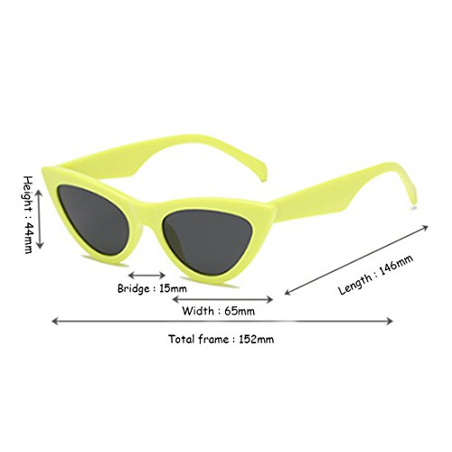 Vintage Pequeñas Eye Retro Eyewear Goggles Frame Huicai Mujeres Cat sunglasse Amarillo Plastic R4pIw