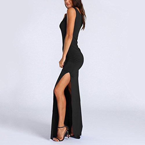 dt Femmes avec Noir Split Boho Robes Manches Robes de Sexy Courte Internet Poche Longue A BwwWxqOvUP