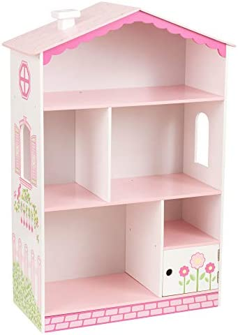 KidKraft Dollhouse Cottage Bookcase Wooden Children's Furniture with Shelves and Hidden Storage, 15.15″ x 11.42″ x 25.98″, Multicolor, Model:14604