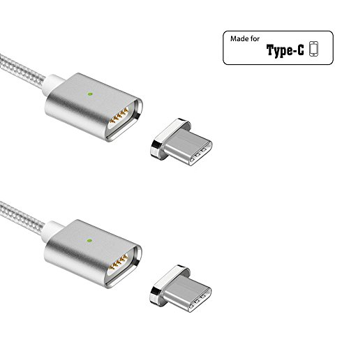 Nething 2 Pack 3.3ft(1m) 3rd PowerLine Durable Nylon Braided Magnetic USB C 2.0 Charging Cable for Android Type-C Devices(3.3ft cable/2P Silver) by Nething
