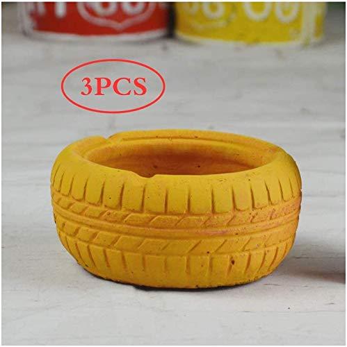 AMITD Juego de 3 ceniceros Creative Cement, cenicero, Caja de Almacenamiento, Soporte para Cenizas de Escritorio, cenicero Decorativo para Aplicaciones de hogar en la Oficina (Color: Amarillo)