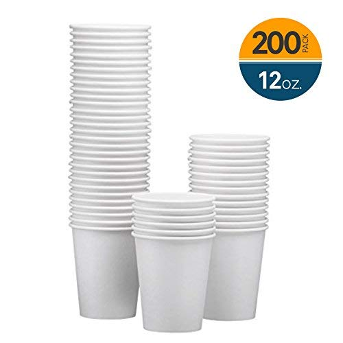 1 Beverage Hot (NYHI 200-Pack 12oz White Paper Disposable Cups – Hot/Cold Beverage Drinking Cup for Water, Juice, Coffee or Tea – Ideal for Water Coolers, Party, or Coffee On the Go')