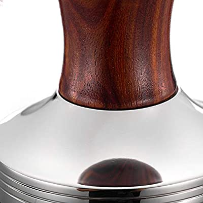 Tamper de caf/é 58mm Estampado de Acero Inoxidable Placa port/átil Martillo Base Barista Mango de Madera Utensilios de Cocina Gadgets Polvo Accesorios Desmontables