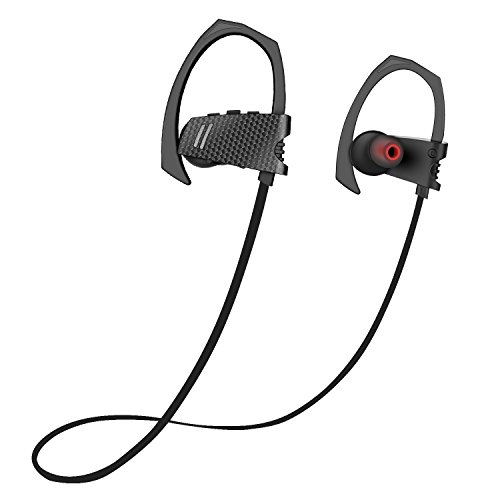 Bluetooth Headphones, Wireless Sport Earphones V4.1 Heavy Bass Stereo In Ear Earbuds with Silicone Ear Hooks, Noise Cancelling, Sweat Proof Sports Earphones with Mic for Running Sport Gym – Black