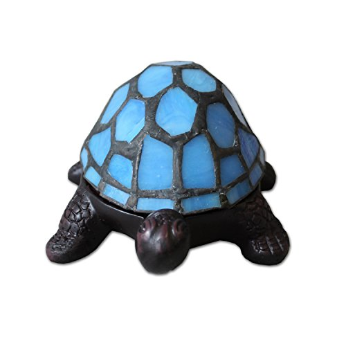 Plamd Tiffany Operated Stained Glass Turtle Table Lamp with LED battery box