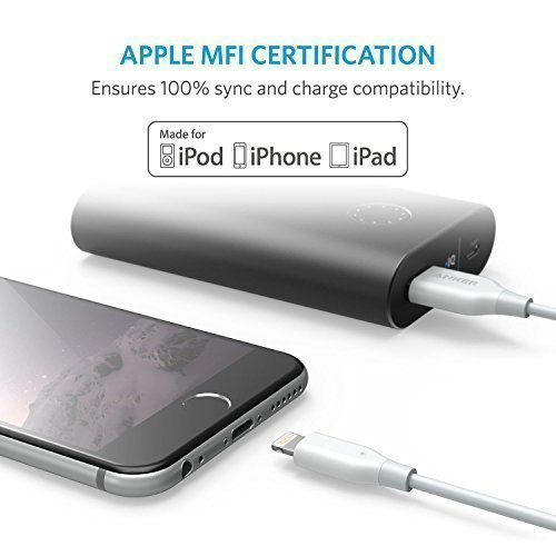 Anker PowerLine 6ft Lightning Cable, MFi Certified for iPhone X/8/8 Plus/7/7 Plus/6/6 Plus/5/5S (White)