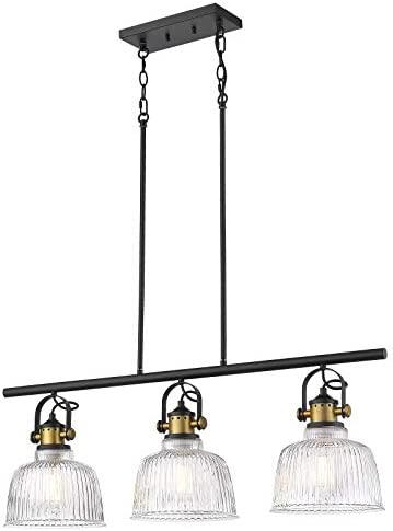 Autelo Modern 3-Light Kitchen Pendant Light Farmhouse Glass Chandelier