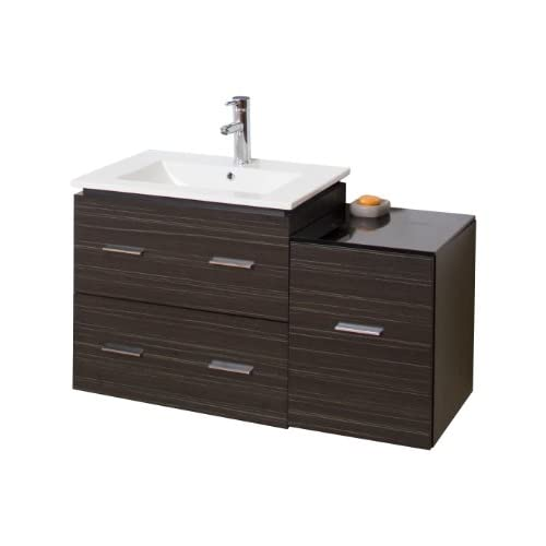 new American Imaginations 37-in. W x 18-in. D Modern Wall Mount Plywood-Melamine Vanity Base Only In Dawn Grey