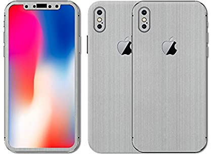 huge discount 969f7 9719d SLICKWRAPS Apple iPhone X Silver Titanium Skin for: Amazon.in ...