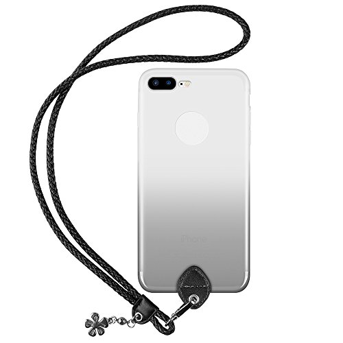pzoz Case Compatible iPhone 7 Plus/8 Plus Case, Slim Silicone Lanyard Case Cover Holder Long Hanging Neck Wrist Strap Outdoors Travel Necklace Compatible iPhone 7 Plus/8 Plus (Clear Black)
