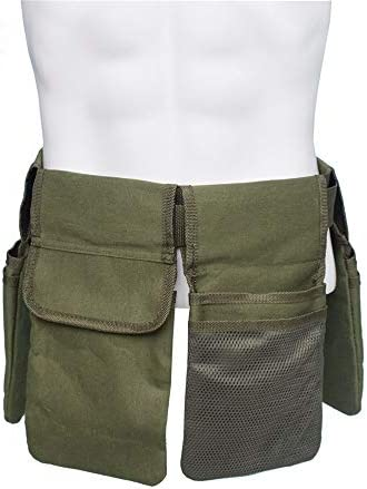 道具袋 4 - ポケットキャンバス木工パワーツールバッグ多機能ウエストバッグ機能テクニシャンバッグ ツール収納袋 (色 : 緑, Size : One size)