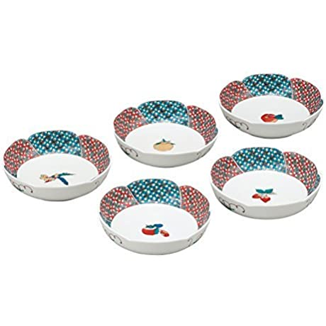 Kutani Yaki Fruits 5 3inch Set Of 5Small Bowls Porcelain Made In Japan
