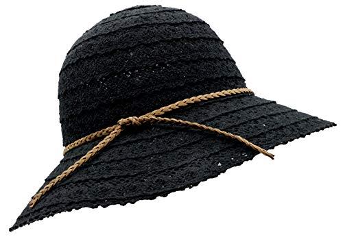 Bienvenu Womens Summer Lace Sun Hat Floppy Wide Brim Beach Cotton Bucket Hat,Knitted Lace_Black