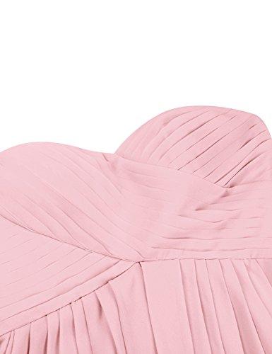 Rose Bustier Mousseline Soire en Femme Robe de Cocktail de de sans 34 de 46 Robe Robe Tiaobug Robe Robe Mariage Soie Bal Manches Crmonie Robe Asymtrique Pliss de qp5wYdB