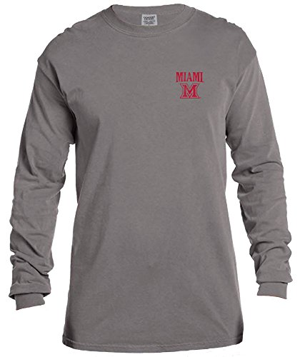 NCAA Miami (Ohio) Redhawks Vintage Poster Comfort Color Long Sleeve T-Shirt, Small,Grey ()