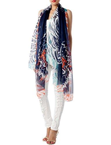 iB-iP Women's Tiger Stripe Print Lightweight Large Oversized Sheer Fashion Scarf, Navy Sheer Tiger