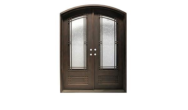 Simart Puertas de hierro forjado doble exterior entrada frontal ...