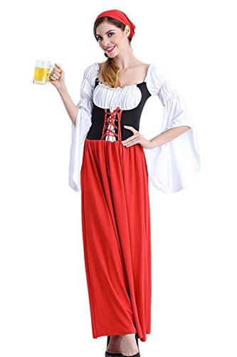 Yacun Women Dirndl Dress Oktoberfest Traditional German Beer Maid Costume Red M ()