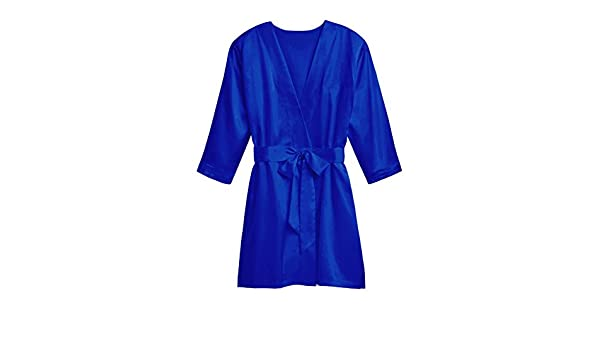 Womens Soft Silky Kimono Robe with Customizable Personal Monogram, French Blue at Amazon Womens Clothing store: