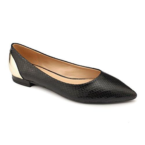 Black Accent Flat (V 1969 Italia Womens ZOLA Designer Flats with Metallic Accent Black Size)