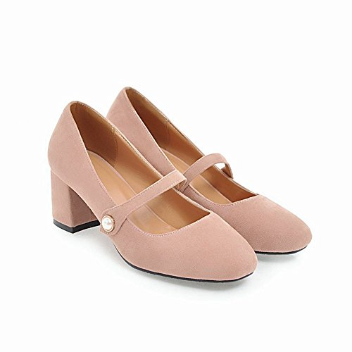 Carolbar Women's Sold Color Charm Block Mid Heel Beaded Court Shoes Pink 0LCRp