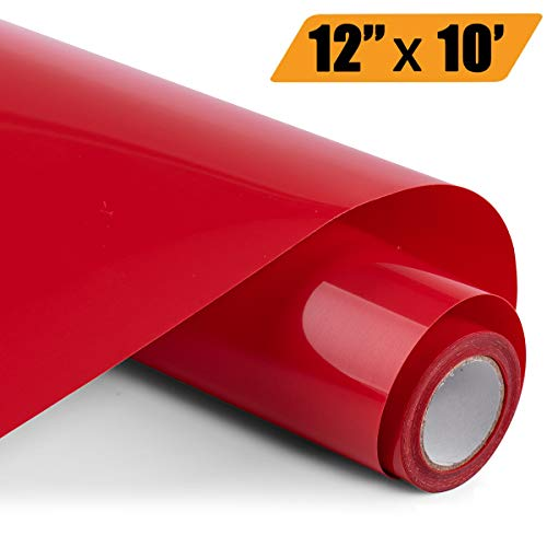 Heat Transfer Vinyl Bundle 12 x 10 Feet Rolls, PU HTV Vinyl by Somolux for Cricut and Silhouette Cameo Easy to Cut & Weed, DIY Heat Press Design for T-Shirt, Clothes, Hats and Other Textiles (Red)