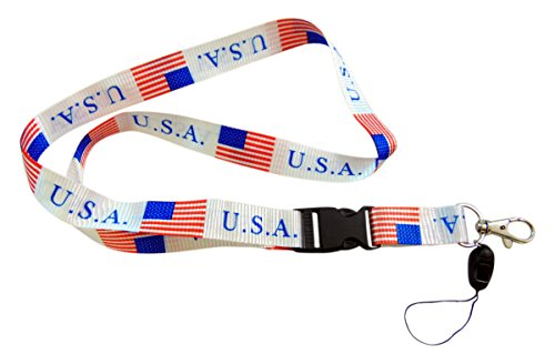 (Westman Works American Flag USA Lanyard Neck Strap Necklace Key Chain Card Badge Holder, Set of 2 White)