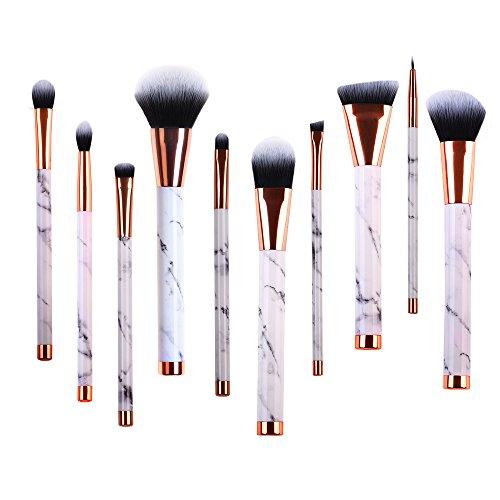 Marble Makeup Brush Set Powder Brush Eyeshadow Brushes Vegan Professional Makeup Brush Set Blush Brush Concealer Eyeliner Lip Brush Flat Foundation Brush Face Brush set Travel Cosmetic Brushes