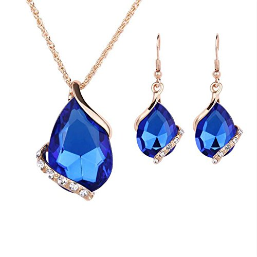 Ezing Women Crystal Pendant Gold Plated Chain Necklace Earring Jewelry Set