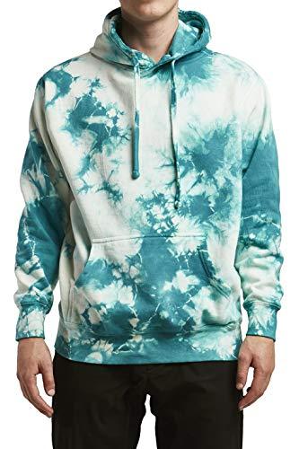 InfiniTee Mens Unisex Premium Fleece Hoodie Soft Tie Dye Vintage Wash (s, Turquoise tie dye)