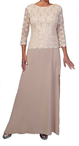 Women's Ladies Mother of the Bride Lightly Beaded Lace Chiffon Skirt Dress (Large, (Beaded Chiffon Skirt)