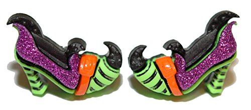 Colorful Glittery Halloween Witch's Shoes Stud Earrings (H137) ()