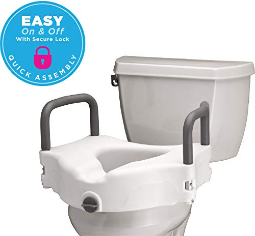 - NOVA Medical Products Elevated Raised Toilet Seat with Removable, Padded Handles, Locking Easy On and Off, for Standard and Elongated Toilet Lifter