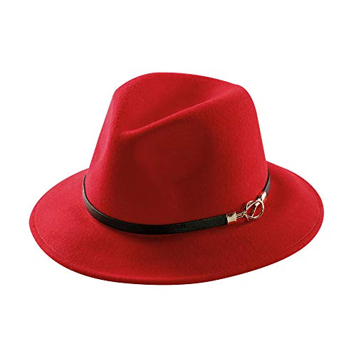 Womens Fedora Hat 100% Wool Felt Hats Winter Trilby Cap Wide Brim with Leather Belt Decor (Red) for $<!--$23.98-->