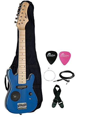 Raptor 30″ Kids Child Starter Electric Guitar with Built-In Speaker with Gig Bag, Strap, Cable, Replacement Strings and RAPTOR Picks (BLUE)