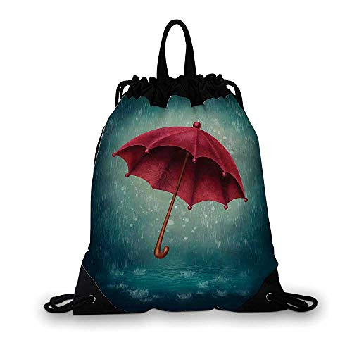 Farmhouse Decor Nice Drawstring Bag,Authentic Retro Wooden Handle under Fall Rainfall Torrent Urban Accessory Image For hiking,7.4