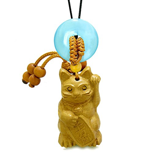 Fortune Cat Lucky Donut - Maneki Neko Fortune Cat Car Charm or Home Decor Blue Simulated Cats Eye Lucky Coin Donut Protect Amulet