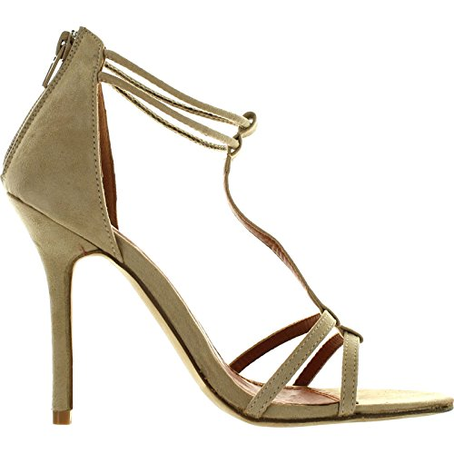 Bonnibel Rosita Womens T-Strap Back Zipper Ankle Strap Stiletto Dress Shoe Sandals Beige WFPmv9BcZ