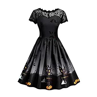 Xinvision Halloween Costumes for Women - Plus Size A Line Dress Vintage Style Short Sleeve Mesh Patchwork Pumpkin Printed Party Swing Dress Black
