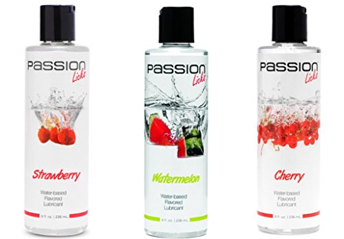 Passion Licks Water Based Flavored Lubricants Kit - Strawberry, Watermelon and Cherry Flavored Lubes, 8 oz each.