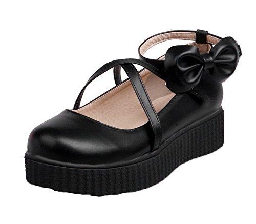 Amoonyfashion Dames Lage Hakken Pu Stevige Gesp Ronde Neus Pumps-schoenen Zwart