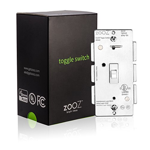 ZOOZ Z-Wave Plus Toggle On Off Wall Switch ZEN23 (White) VER. 3.0, Works with Regular 3-Way Switch (Z-Wave hub - Faceplate Phone Case Cover Metal